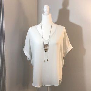 White Short-Sleeve Blouse